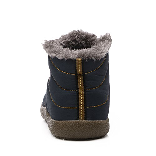 SITAILE Snow Boots, Women Men Fur Lined Waterproof Winter Outdoor Slip on Boots Ankle Snow Booties Blue-ankle High