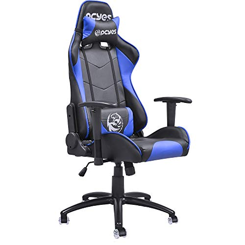 Pcyes Mad Racer V8 Gaming Chair with Gel Wheels Gaming Chair Racing Style Office Computer Desk Ergonomic Chair with Pillows ()