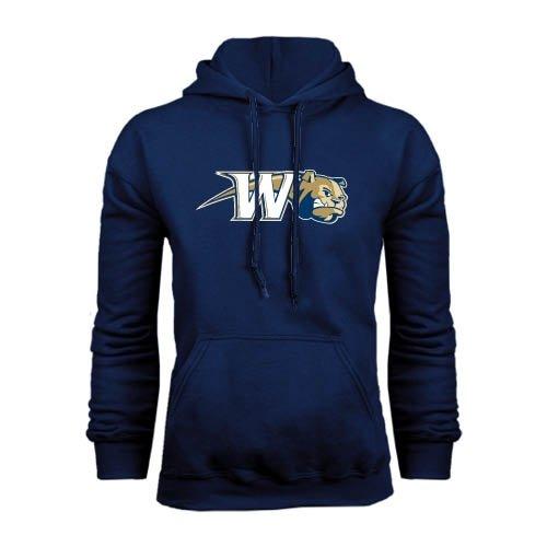 Wingate University Navy Fleece Hoodie Bulldog w//W Swoosh