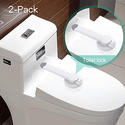 Baby Safety Toilet Locks - Baby Proof Toilet Lid Lock with Arm Adhesive Mount - Professional Top Safety Toilet Seat Locks No Tools Needed Easy Installation (2 packs)