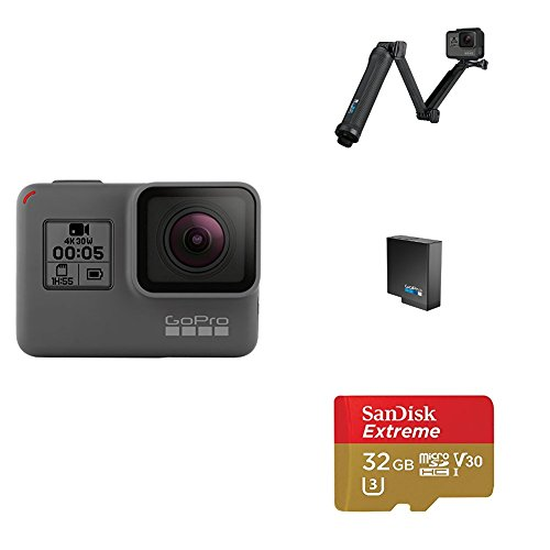 GoPro HERO5 Black w/ 3-Way Grip, Battery and Memory Card by