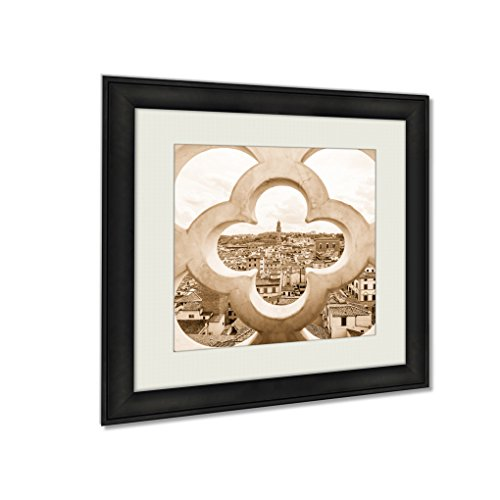 Ashley Framed Prints Fence Ornament Bell Tower In Florence, Wall Art Home Decor, Sepia, 26x26 (frame size), AG5405185 by Ashley Framed Prints