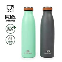MOSSY OAK 2-pack Vacuum Insulated Water Bottles 17 Oz Leak-proof Double Walled Stainless Steel Flask Keeps Drinks Cold for 24 hours & Hot for 12 hours, Vintage Gray&Green