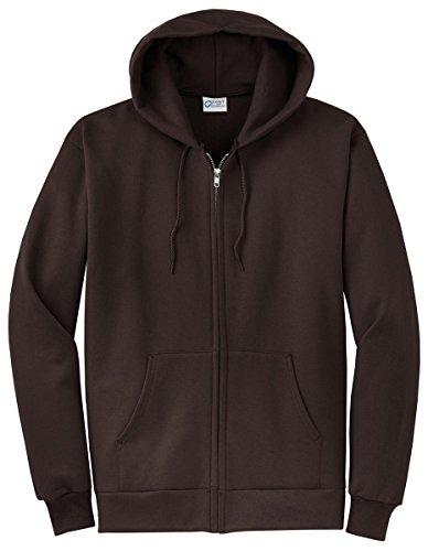 Port & Company Men's Classic Full Zip Hooded Sweatshirt S Dark Chocolate Brown
