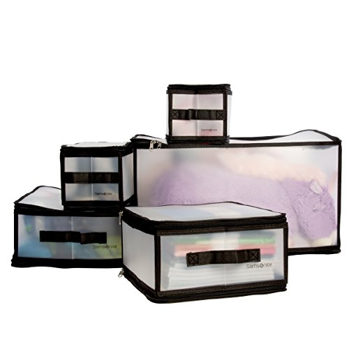Set Comforter Cube (Samsonite 5 Piece Set Clear Plastic Storage Cube Organizer Bins Collapsible Boxes Container Small Medium X-Large)