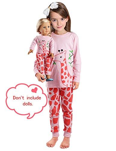 Girls Matching Doll&Toddler Giraffe 4 Piece Cotton Pajamas Kids Clothes Sleepwear Size ()
