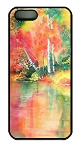 Autumn Reflections in Watercolor DIY Hard Shell Black iphone 5/5s Case Perfect By Custom Service hjbrhga1544