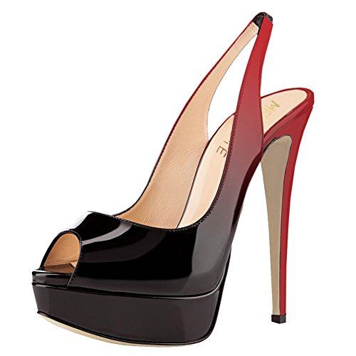 Delle Donne Peep Scarpe Toe Nero Merumote Pompe Rosso Slingbacks Piattaforma Tacchi T6tqn4gw