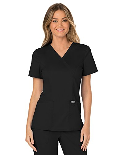 CHEROKEE WW Revolution WW610 Women's Mock Wrap Top, Black, Medium (Cherokee Scrub Top Women)