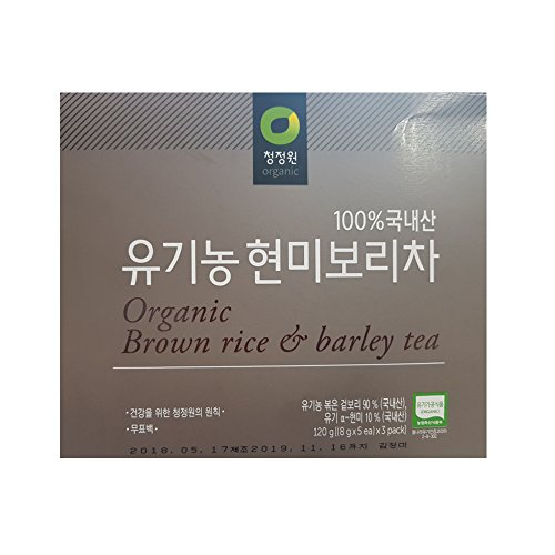 100% Organic brown rice barley Tea, 8 g X 15 Unbleached Teabags, Sugar Free, Caffeine ()