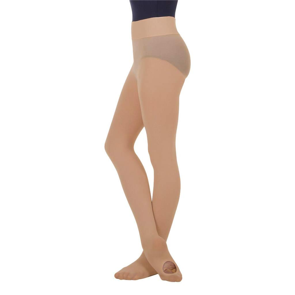 BodyWrappers Girl's Wide Smooth Waist Convertible Tights (Jazzy Tan, Small/Medium) - C41 by Body Wrappers