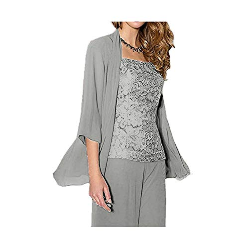 (WHZZ Womens 3 Pieces Chiffon Mother of The Bride Dress with Jacket Pant Suits Sliver )
