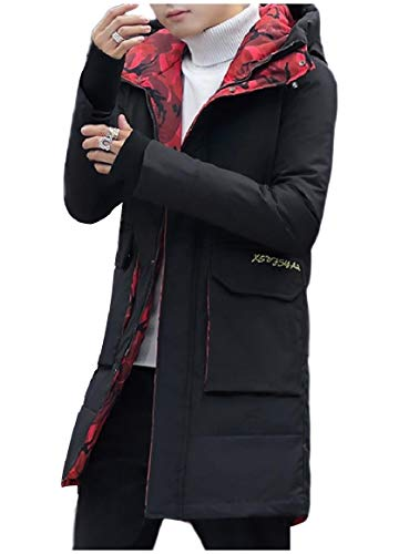 Black Style Full Brumal Basic Zip Down Hooded Thickened Men Coat Warm RkBaoye aHxP1nw