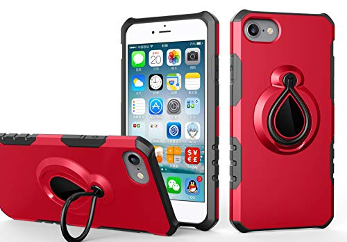 iPhone 8 Case with Kickstand Support, iPhone 7 Case Finewold 360° Rotatable Finger Ring Holder Magnetic Stand Support for Car Mount TPU PC Double Layer Protective Cover Case for Apple iPhone 7/8 4.7 ()