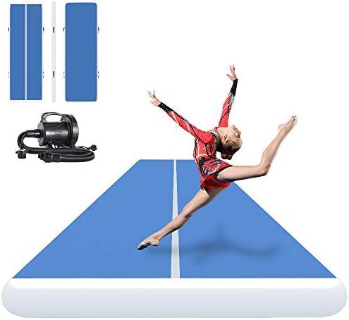 Ibigbean Colchonetas, inflables, para gimnasia, para animadoras, entrenamiento, playa, sobre el agua (8 cm de grosor), para todo el año , 27ft x 6.6ftW x 8inH, Azul/Gris: Amazon.es: Deportes y aire libre