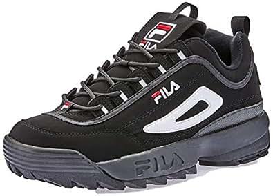 Fila Men's Disruptor II Trail Running Shoes, Blk/White/Vintage Red, 10 US