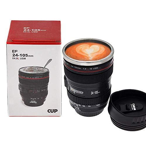 OurLeeme Lente de la camara Tazas de cafe Termo de acero inoxidable Forro Tapa Taza de cafe Taza Taza de 400 ml Taza de vaso de te Te Gran regalo para un amigo