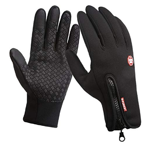 Pretty.auto Unisex Fleece WinterWarm Waterproof Windproof Touchscreen Gloves for Outdoor Riding (Black, ()