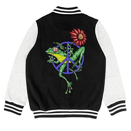 Price comparison product image PoPBelle Kids Peace Frogs Blue Logo Girls Letterman Jacket for Girls Boys Funny Youth Sizes Coats