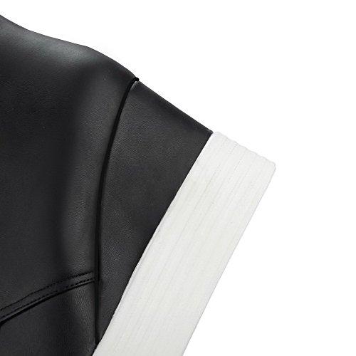 hohem PU runde Schnürstiefel aus Absatz festem Schwarz Damen mit geschlossene Zehenstiefel AgooLar und wzY5qxIFwg