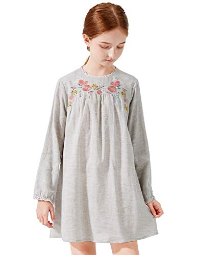 SOLOCOTE Girls Hand Embroidery Dress White/Gray Lace Decorate Kids Youth Long Sleeve Spring Dresses, 191126, Gray, 9-10Y (Best Deals For Veterans Day)