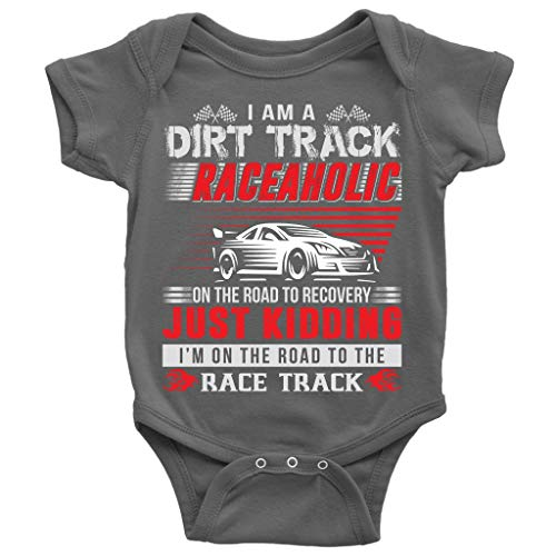 On The Road Baby Bodysuit, Dirt Track Raceaholic Cute Baby Bodysuit (12M, Baby Bodysuit - Dark Gray)