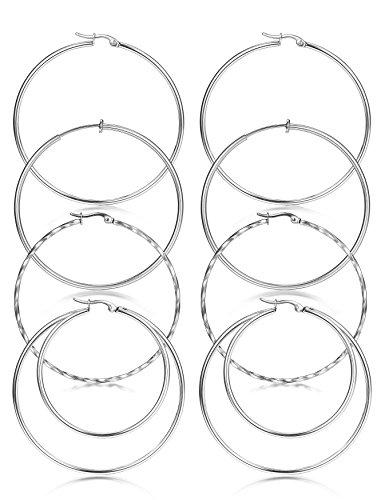 (ORAZIO 4 Pairs Stainless Steel Rounded Big Hoops Earrings for Women Girls Circle Endless Earrings Sliver Tone Hoops Diameter 40 MM)