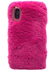 """Ogmuk Winter Warm Plush Case Compatible with iPhone 12 Pro Max 6.7"""",Fashion Luxury Diamond Bowknot Cute Fuzzy Furry Rabbit Hair Plush Fluffy Fur Soft TPU Back Case for Women Girls,Rose Red"""