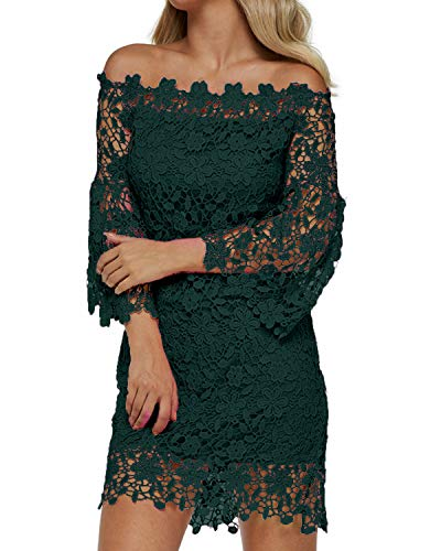 - Auxo Women Off The Shoulder Floral Lace Long Sleeve Vintage Cocktail Party Dress Green L