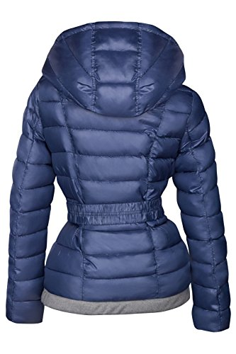 Chaqueta de invierno corta acolchada para mujer, aspecto de plumón, capucha, forrada, chaqueta de esquí Azul