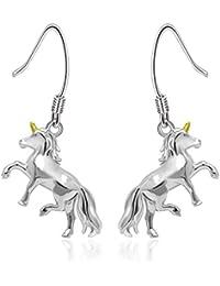 Unicorn Earrings Gift Jewelry 925 Sterling Silver Hypoallergenic Gold Horn Unicorn Dangle Drop Earrings for Girls