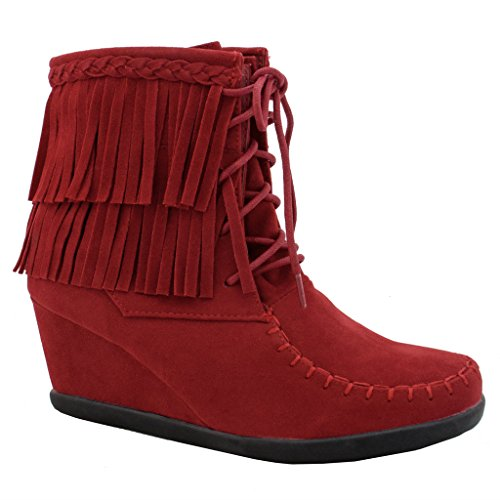 Women's Fringe Faux Suede Lace Up Ankle Boot Wedge Booties (Fringe Ankle Boot)
