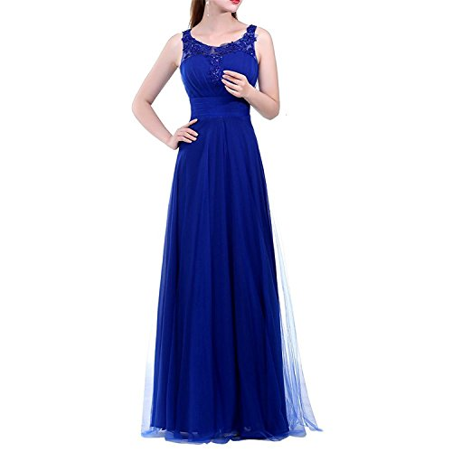 Skirt Stella Embroidered (oppicong Women's Sleeveless Embroidered Rhinestone Lace Long Formal Evening Dress Royal Blue12)