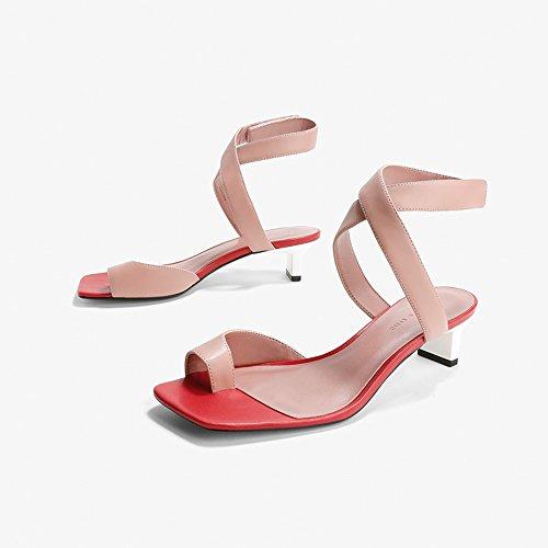 Transversale Sandales 4 CM Couleur Confortable Hauts Dame EU39 Mode YQQ Chaussures Moyen Talons Chaussures taille Rose Femme Courroie Talon UK6 Décontractées Des Fille Rose De Commerce UXTwq
