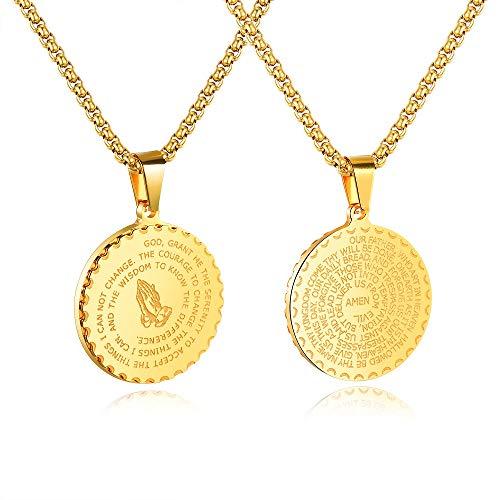 Bible Verse Prayer - Bible Verse Prayer Gold Necklace with 21.6