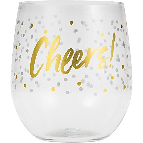 Elise 329904 Plastic 14-Ounce Stemless Wine Glass Tumblers Cheers ()