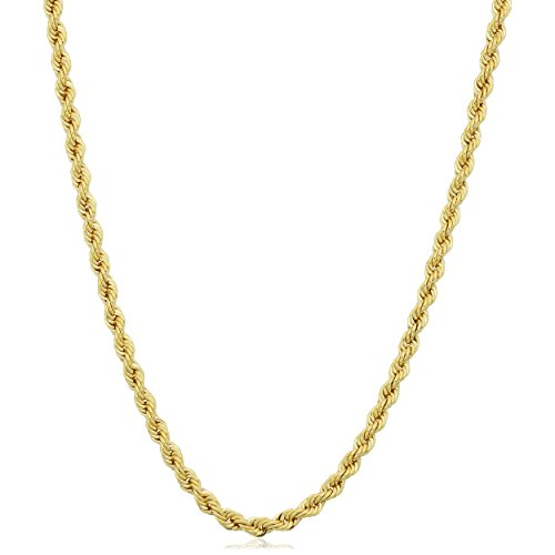 Kooljewelry 14k Yellow Gold Filled 2.1 mm Rope Chain Necklace (20 inch)