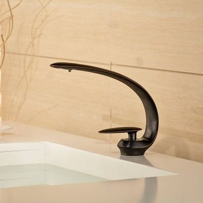 ETERNAL QUALITY Bathroom Sink Basin Tap Brass Mixer Tap Washroom Mixer Faucet Basin mixer Flat Nozzle waterfall faucet black Kitchen Sink Taps