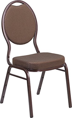 4 PACK Multipurpose Teardrop Back Stacking Banquet Chair in Brown Patterned Fabric with Copper Vein - Teardrop Frame
