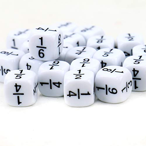 (JETEHO 20Pcs White 16MM Fraction Dice Classroom Accessories for,Games )