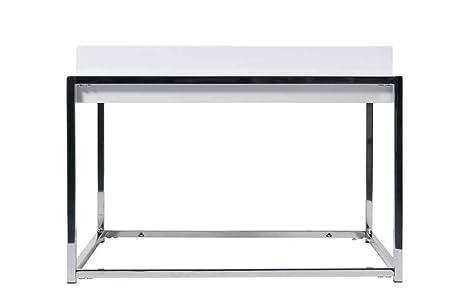 Greta High Gloss White Lacquer End Table W Chrome Base