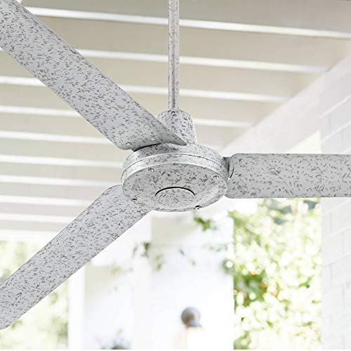 """60"""" Turbina Modern Industrial Outdoor Ceiling Fan with Remote Control Galvanized Damp Rated for Patio Porch - Casa Vieja"""