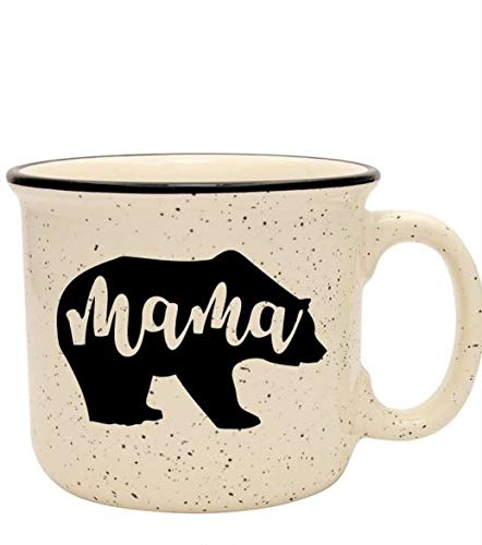 Cute Girly Coffee Mug for Mom, Women - Mama Bear - Sand - Unique Fun Gifts for Her, Wife, Mom, Under $20 - Handmade Coffee Cups & Mugs with Quotes, 14 oz ()