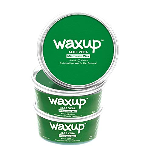 Waxup Microwave Hard Wax Kit- Aloe Vera, 3 Pot of 7 Ounces - Home Hair Removal Hard Wax - Hot Microwavable Wax - Stripless Wax for Body (Face, EyeBrows, Upper lip, Legs and Arms) - Self Waxing