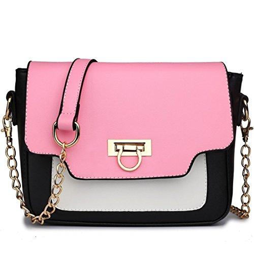 Miss Lulu Women's Leather Style Horseshoe Clasp Cross Body Satchel Handbag Medium Pink