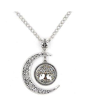 a3e65a8b Moon Life Tree Time Glass Alloy Pendant Necklace-(SZRUY-04)