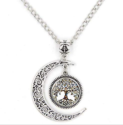 SPHTOEO Moon the Tree of Life Glass Pendant Long Chain Blessing ()