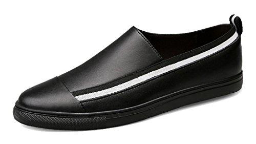 Tda Mens Slip-on Syntetiska Andas Komfort Öre Loafers Driver Promenadskor Svart