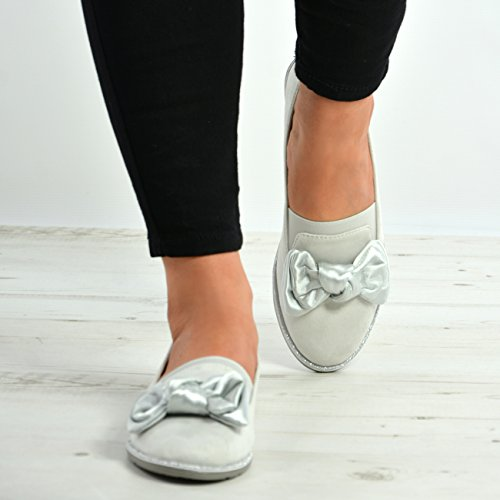 Ballerina Fashion Sizes New On Glitter Ladies Flats Bow Slip Shoes Womens Sparkle Cucu Grey Ballet avwgCqwx