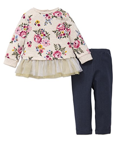 Little Me Baby Girls' 2 Piece Long Sleeve Knit Fashion Legging Set,  Big Floral